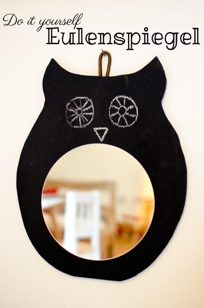 Anleitung für einen Spiegel in Eulenform mit Tafelfarbe in Schwarz als DIY Deko für das Kinderzimmer