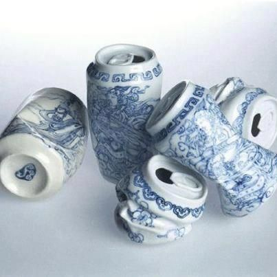 "Fine Art by Lei Xu. ""Drinking Tea,"" 2001-2003- porcelain decorated with traditional Chinese motif. For me it is all about the simplicity of the sculpture defined by the colors and placement of cans."