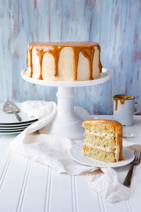 A fragrant banana layer cake made with homemade dulce de leche frosting!