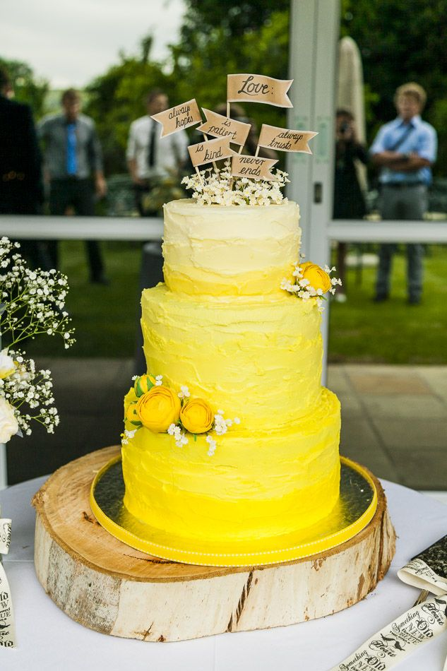 My yellow Ombre wedding cake with the 1 Corinthians verse on top