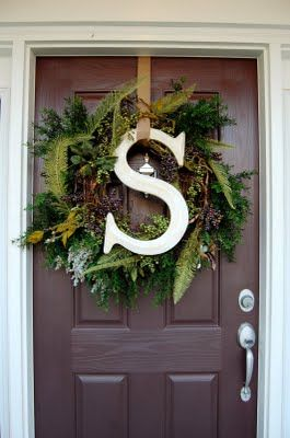 Letter Wreath: Christmas Wreaths, Letters Wreaths, The Holidays, Festivals Fall, Front Doors, Fall Wreaths, Wreaths Ideas, Around The Houses, Winter Wreaths