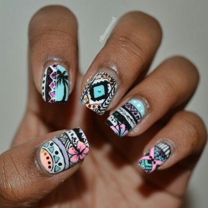 Tribal nails by @rillnails
