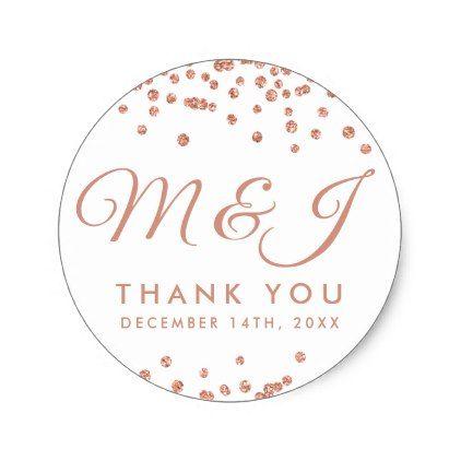 Wedding Favor Tag Rose Gold Glitter Confetti White - glitter glamour brilliance sparkle design idea diy elegant