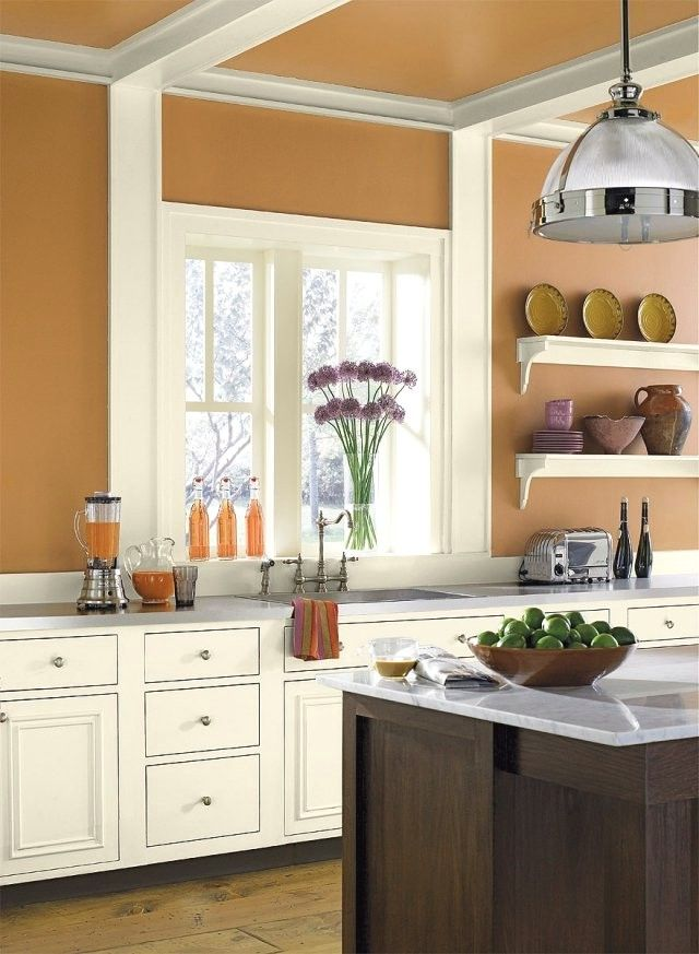 color orange white kitchen furniture landhausstil
