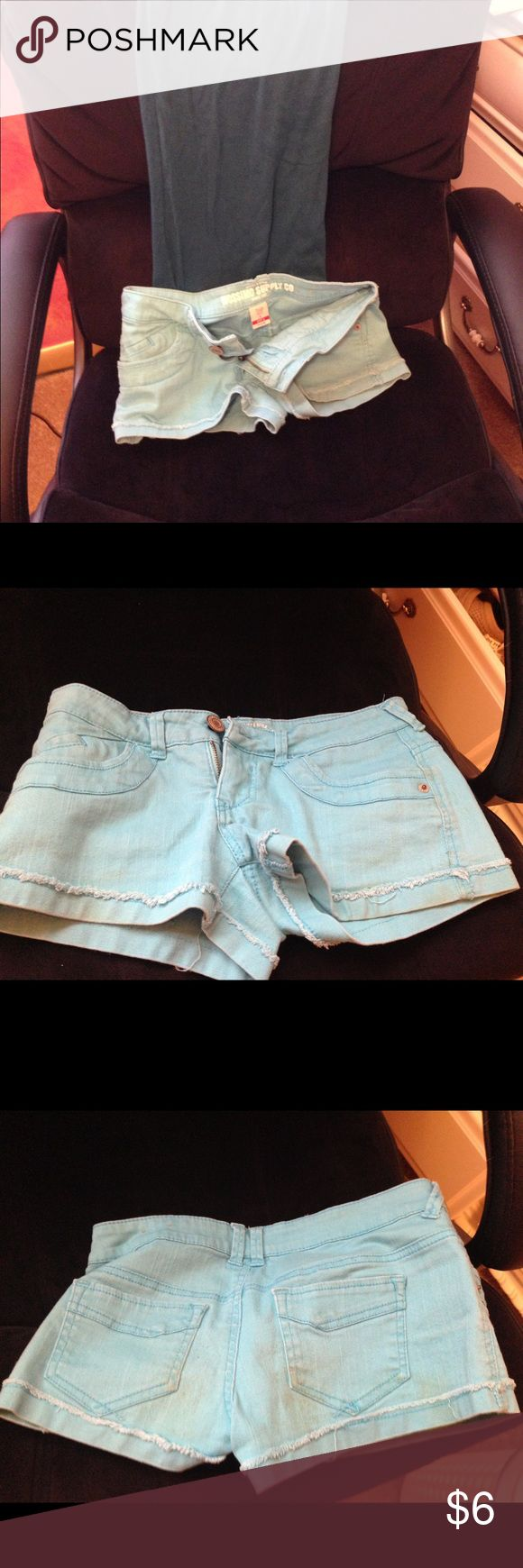 Mossimos Light blue shorts 5 pocket shorts with button in a washed out blue green color. zipper hemmed cuff with unfinished look Ask me and I will create a bundle of 4 shorts for $14. Offer only available for shorts Mossimo Supply Co Shorts Jean Shorts