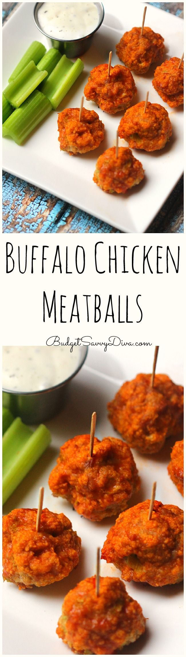 Perfect recipe for snack time or the BIG GAME - Perfect party appetizer recipe - Done in about 30 minutes - Reheats very well - 1 pound of chicken makes about 20 meatballs - Not too spicy - Buffalo Chicken Meatballs Recipe