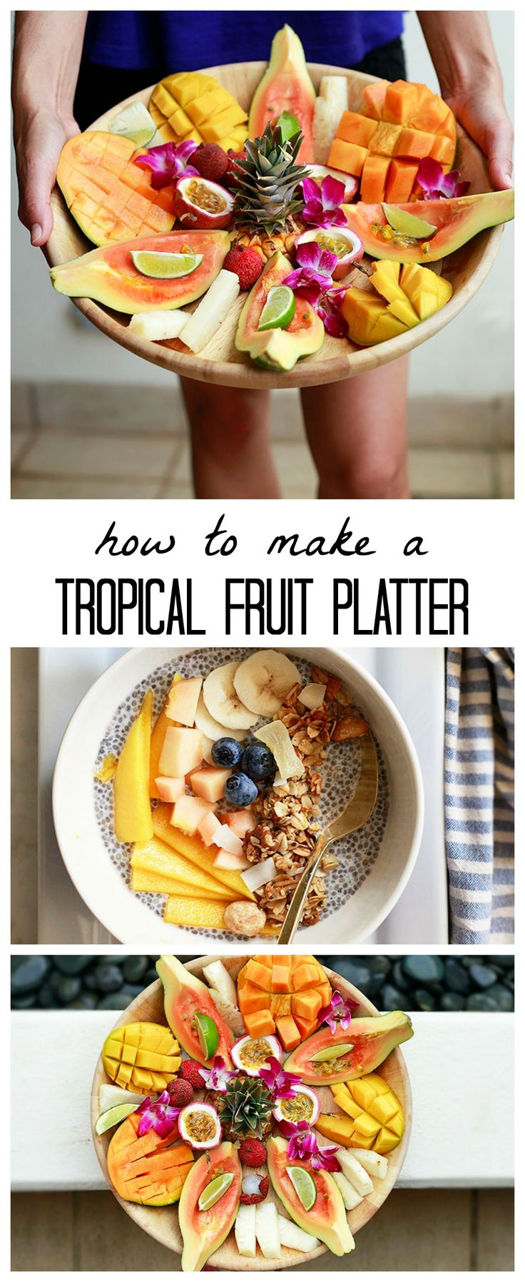 How to make a gorgeous tropical fruit platter, plus healthy serving suggestions. LOVE this for summer brunches.