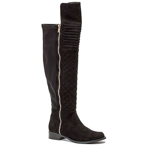 French Blu Black Emma Over-the-Knee Stretch Boot ($40) ❤ liked on Polyvore featuring shoes, boots, over-the-knee boots, plus size, lined boots, stretch boots, over the knee stretch boots, thigh boots and side zip boots