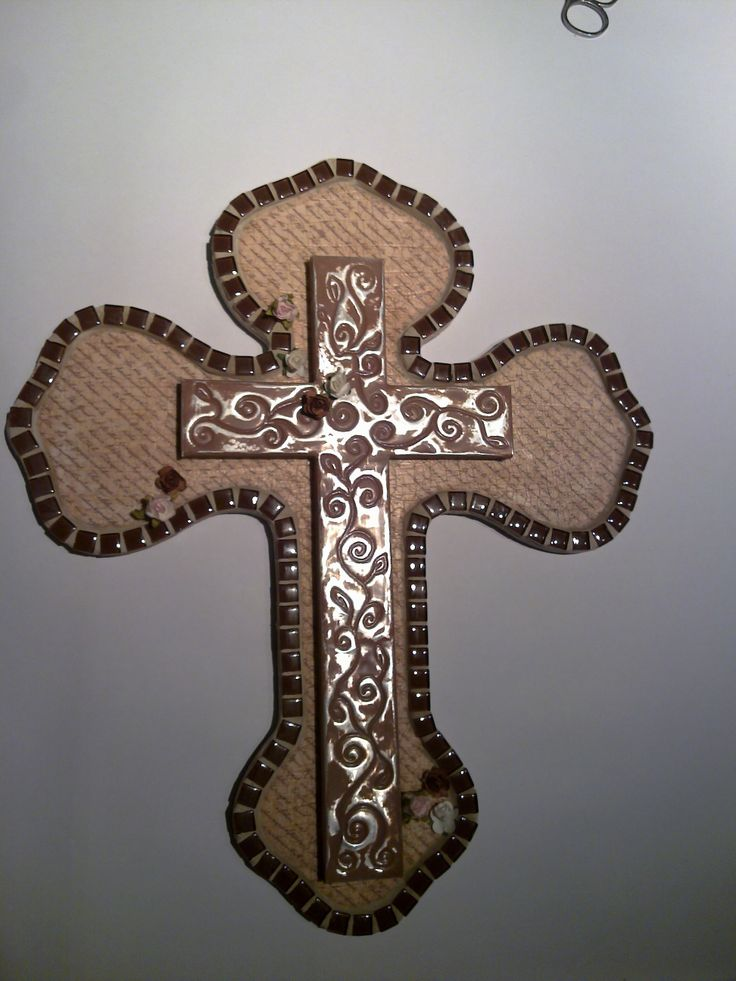 pewter cross, modge podge and tiles