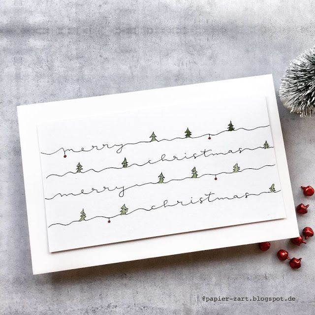 Papierzart Merry Christmas Hand Lettering Lettering