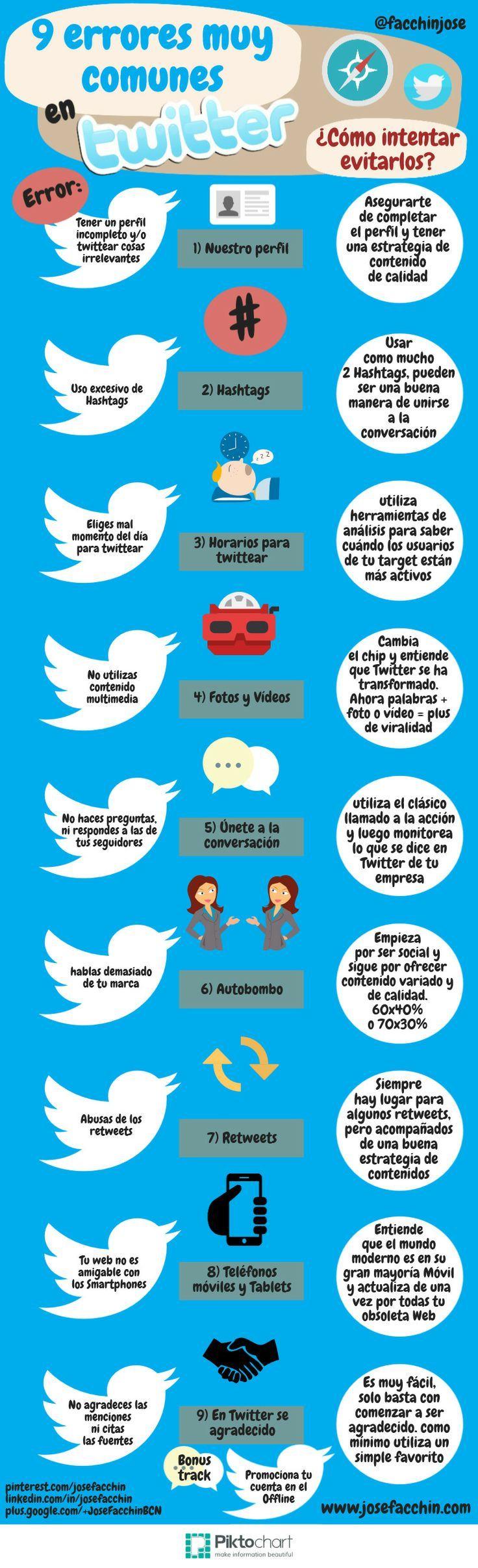 9 errores comunes que se cometen en Twitter ¿cómo evitarlos? #infografia @facchinjose vía @geeksroom @sindofdez