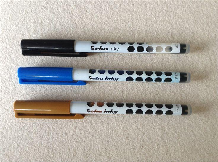 Geha Inky Tintenschreiber aus den 80er Jahren. Hier in schwarz, blau und braun. Schreiben sogar noch.