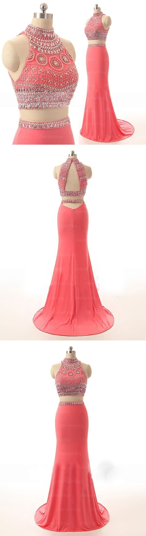 Long Prom Dresses, 2 pieces prom dresses, sexy mermaid prom dresses, coral prom dresses, prom dress online