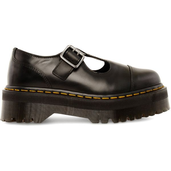 DR. MARTENS Bethan shoes (400 PLN) ❤ liked on Polyvore featuring shoes, black polished smoot, dr. martens, polish shoes, black polishable shoes, black t strap shoes and black t bar shoes