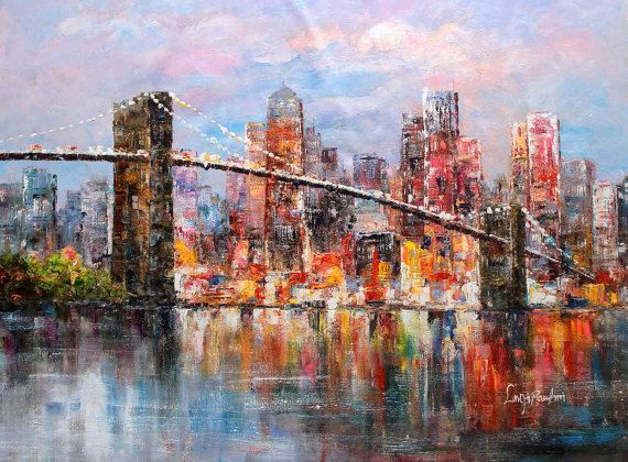 36x48  Brooklyn Bridge Skyline New York City NYC  by LuigiPaulini