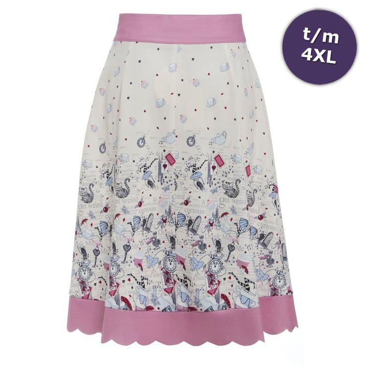 Lindy Bop Natalie rok met Alice in Wonderland print creme/roze - Vinta