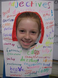Adjectives! This is a really sweet way to work on adjectives AND increase students' self-image and confidence.  (Could also be used with character traits, inside & out, or with feelings words.)