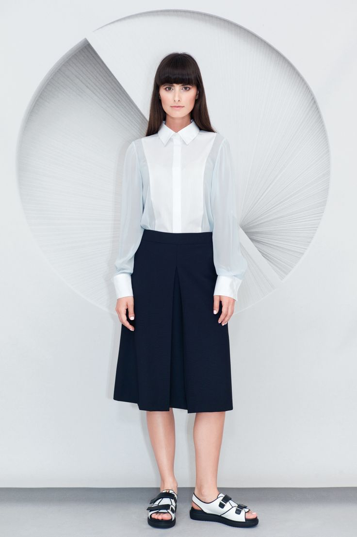 Inverted Front Pleat Midi Skirt