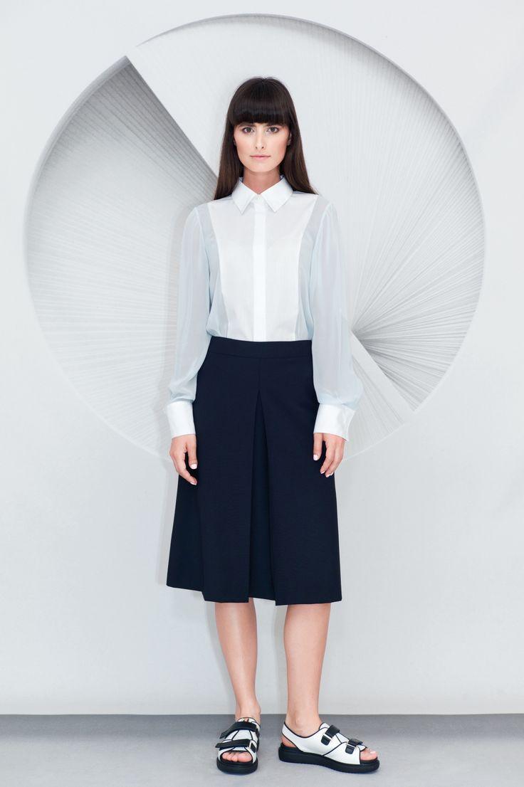 Inverted Front Pleat Midi Skirt