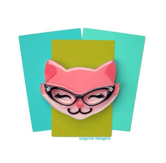 Kitty in Cat-Eye Glasses Brooch - Pink Cat Vintage-Inspired Novelty Brooch
