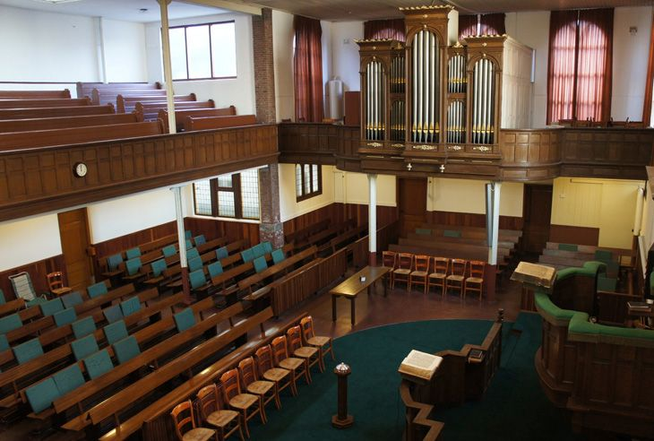 Interior Plantagekerk (Plantage Church) Schiedam. Used by the Restored Reformed Church (Hersteld Hervormde Kerk).