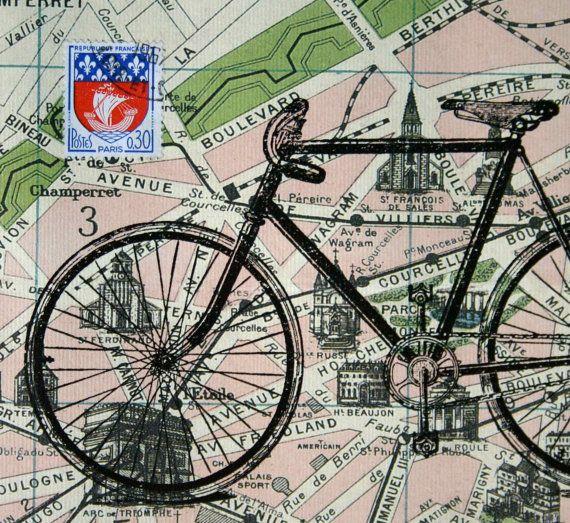 Tour de France bicycle print on Paris map with vintage French postage stamp, by CrowBiz.  More bike  Tour prints at www.crowbiz.etsy.com