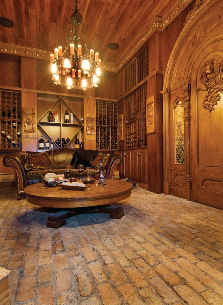 old world gothic style homes | What a great entertaining room below. A warm and comfortable room.