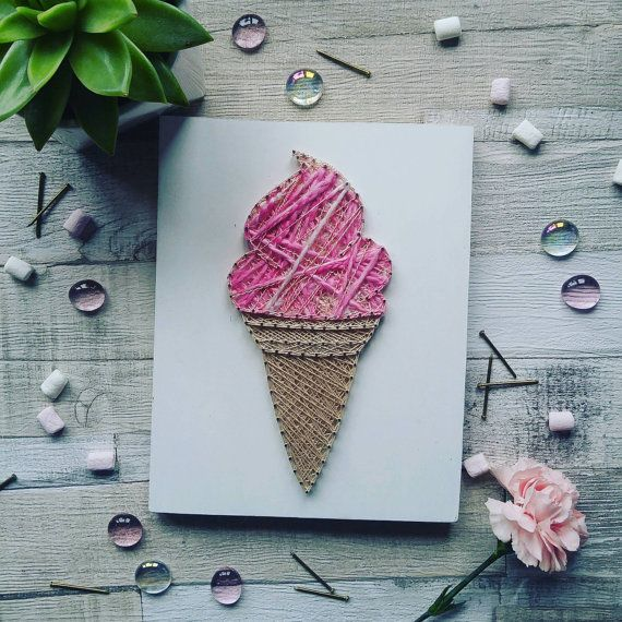 Pink Ice Cream Cone String Art Handmade Unique by DeeisforDaisy