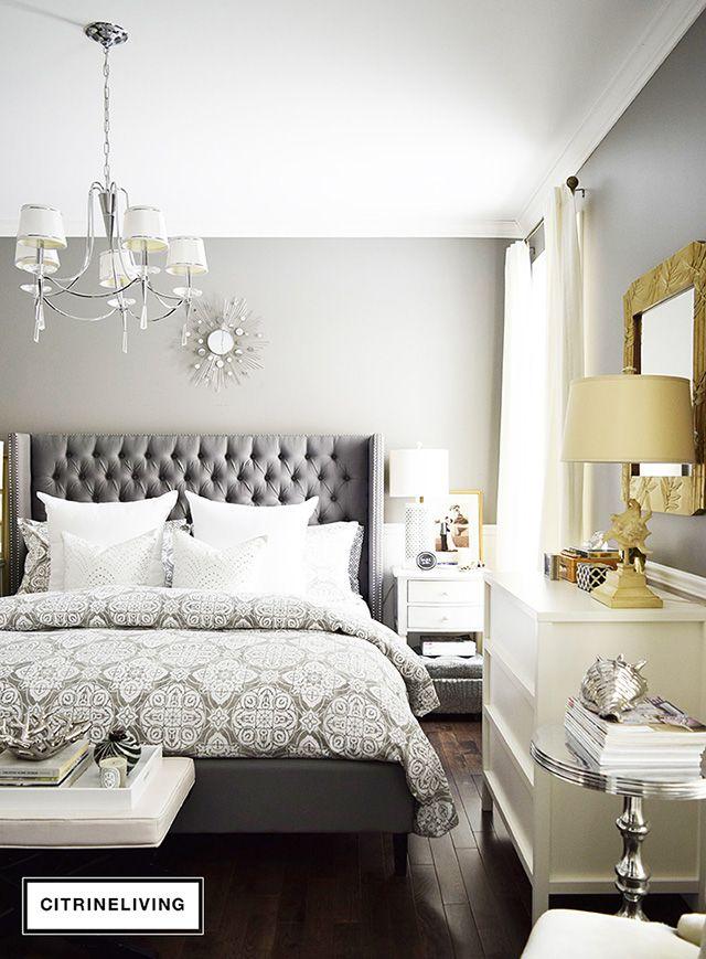 Shop My Bedroom Citrineliving Grey Headboard Bedroom Remodel Bedroom Master Bedrooms Decor Bedroom ideas tufted headboard