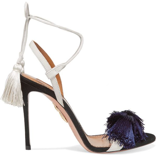 Aquazzura + Johanna Ortiz tasseled two-tone suede sandals ($630) ❤ liked on Polyvore featuring shoes, sandals, navy suede shoes, high heel shoes, navy sandals, aquazzura shoes and navy blue shoes