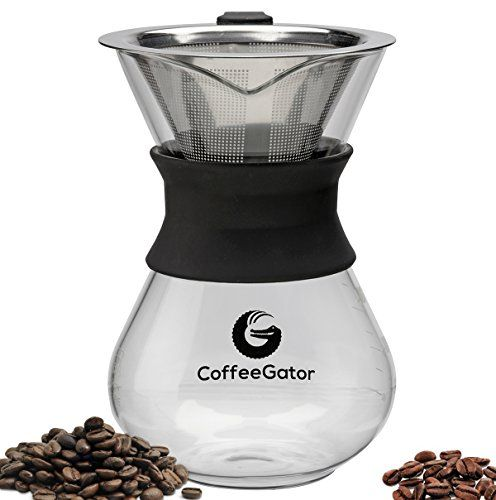 Great BEST Hand Drip Coffee Maker For Perfect Pour Over Coffee. 1-2 Cup 10z Carafe by Coffee Gator with Permanent Stainless Steel Filter - Never buy another paper filter again! (Medium, Black), ,