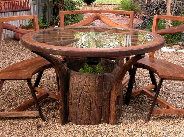 Wagon Wheel Table, Wagon Wheels, Teak Wood, Jackson Hole, Outdoor Living,  Garden Ideas, Garden Art, Garden Junk, Diy Ideas