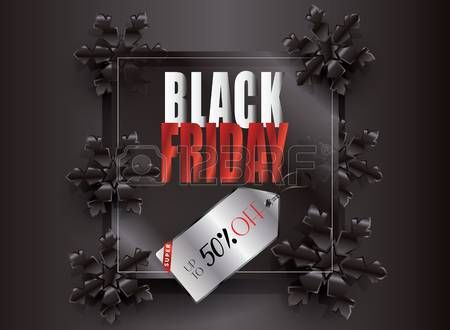 Black Friday Sale Poster with Snowflakes on Black Background Black Frame and price tag. Elegant Advertising design.