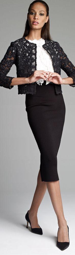 Oscar de la Renta Lace Jacket, Jewel-Neck Ruffle Blouse & High-Waist Pencil Skirt