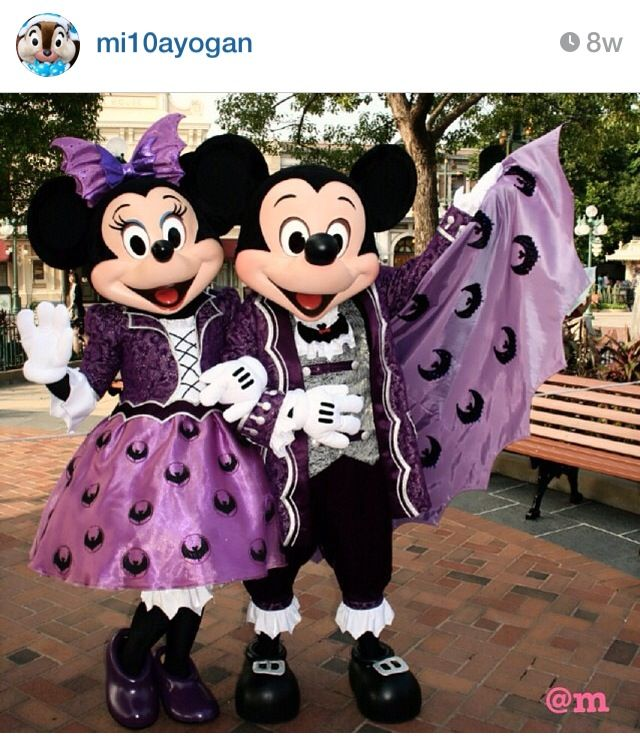 "Halloween purple bat Mickey and Minnie  looking Fabulous!! So ""Minnie"" costumes!"