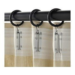 IKEA - SYRLIG, Curtain ring with clip and hook, black, , You can hang your curtains with either combination - rings with clips or rings with hooks.