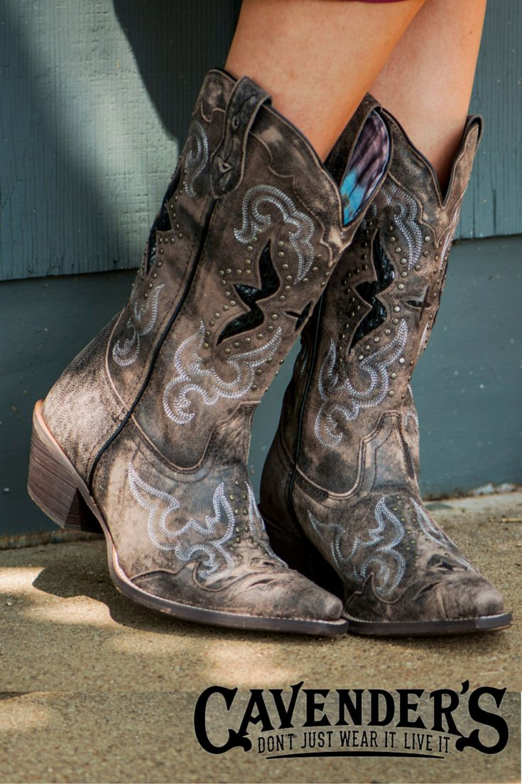 "Great boots don't have to be expensive! These Laredo cowgirl boots feature quality details: studs, unique shaft lining, and embroidery for an ""I spent my paycheck on these boots"" look."