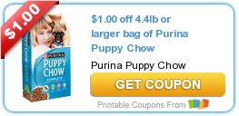$1.00 off 4.4lb or larger bag of Purina Puppy Chow