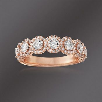 Henri Daussi 1.50 ct. t.w. Diamond Seven-Stone Halo Ring in 18kt Rose Gold