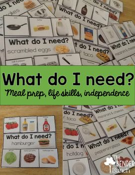 Knowing how to select the necessary items needed to make a meal or a snack is an essential life skills task that is often difficult to teach in the classroom. Let's face it, these are not items we have readily available in our classrooms! I have a student that has this as an IEP goal, so in trying to figure out how I was going to teach this goal without hauling my entire kitchen into school, these cards were born.