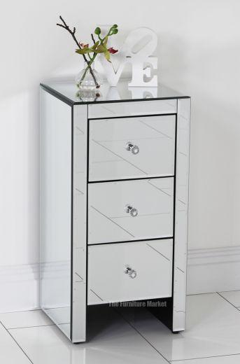 Venetian Mirrored Glass 3 Drawer Slim Bedside Table - Bedroom Furniture VEN52