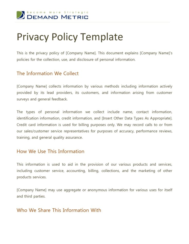 001 Company Privacy Policy Template Uk Ideas within Credit