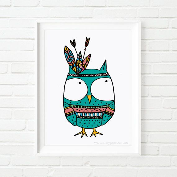 kids prints Owl Indian kid's art nursery art by MiniMoiPrints