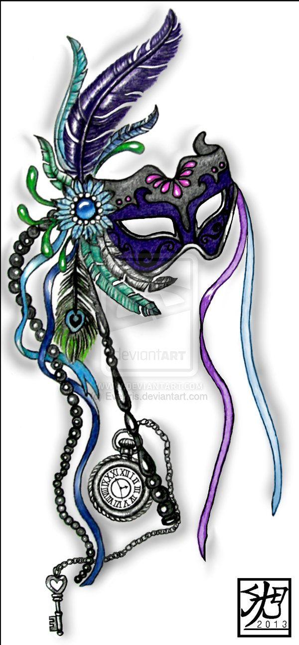 Mardi Gras mask with pocketwatch