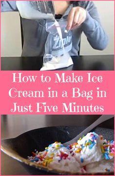 Eis in 5Minuten mit Zipper-Beuteln:Du brauchst: • ½ Tasse Milch • ½ Tasse Sahne • 3 EL Zucker • ½ Teelöffel Vanille-Essenz (oder wie immer Geschmacks Sie zB Schokolade Sirup oder Minze -Extrakt wollen ) )=>in kleinen Zipper-Beutel, Luft raus, zu. • 4 Tassen Eis • 8 Esslöffel grobes Salz =>großer Zipper. Kleiner Zipper in großen Zipper und 5-10Minuten kneten. Kleiner Zipper entnehmen, Salz abspülen, öffnen, dekorieren.