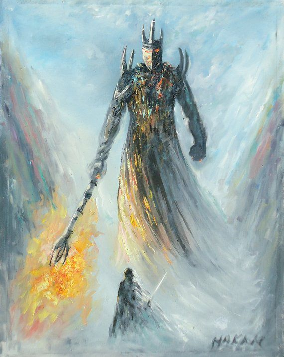 Fingolfin vs Morgoth Silmarillion Painting, J.R.R. Tolkien's Silmarillion Art, Oil Painting on Canvas, Fingolfin Painting, Melkor Painting   Tolkien Dark Lords in 2019   Morgoth, Oil painting on canvas, Painting