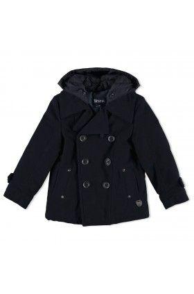 Sötétkék levehető kapucnis tengerész kabát