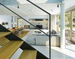 Aranżacje wnętrz - Domy: ATRAKCYJNY 1 - projekt z elewacją klinkierową - Średnie jednopiętrowe domy jednorodzinne z dwuspadowym dachem murowane, styl nowoczesny - DOMY Z WIZJĄ - nowoczesne projekty domów. Przeglądaj, dodawaj i zapisuj najlepsze zdjęcia, pomysły i inspiracje designerskie. W bazie mamy już prawie milion fotografii!