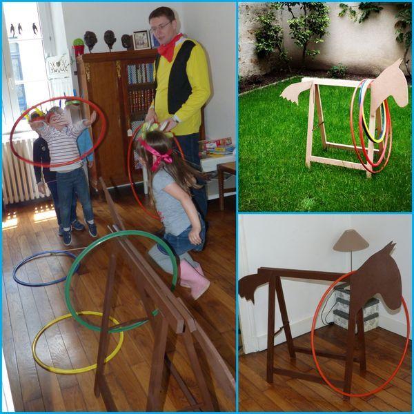Activité lancer de cerceaux sur un cheval sauvage (tréteau + tête en carton). Peut servir d'épreuve pour un grand jeu.