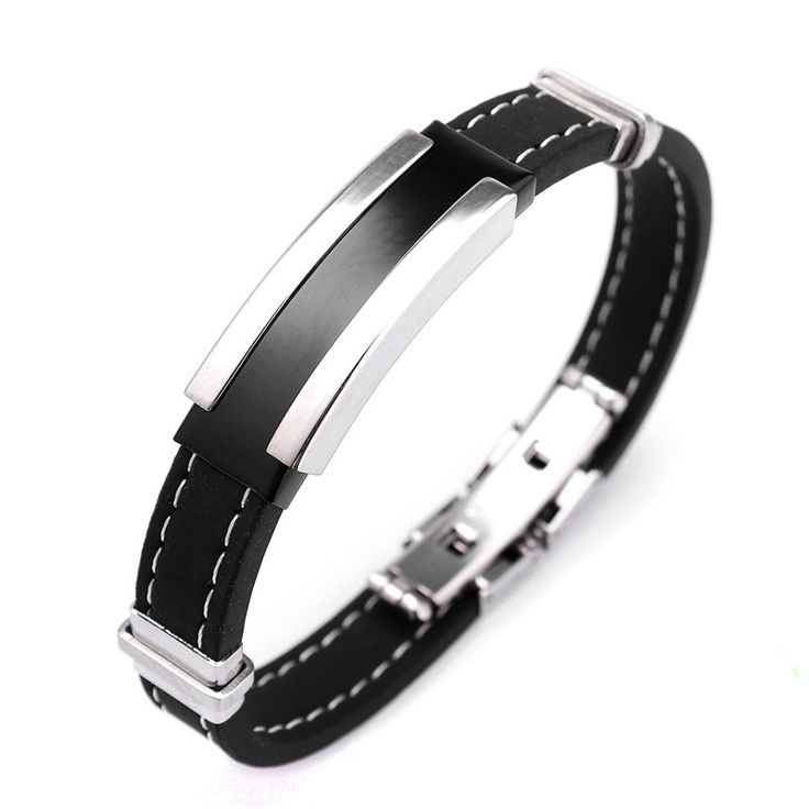 1pcs Fashion Trendy Male Men's Bracelet Cuff Wristband Cuff bangle Silver Stainless Steel Black Rubber Belt 2015 Hot